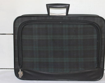 Vintage Overnight Bag, Suitcase, Black and Green Plaid