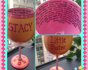 Hand Painted Wine Glass • Personalized Wine Glass with Sentimental Note