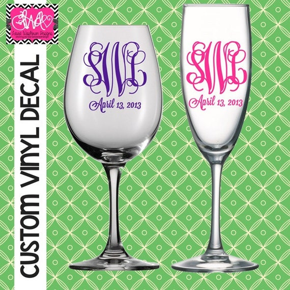 vinyl decal diy 3 letter monogram and by laurawashburndesigns With diy vinyl lettering for glass