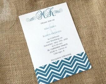 100 Wedding Invitations, invites  Mint green chevron 100 Wedding Invitations