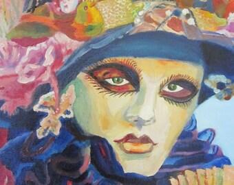 Original Oil painting Carnival in Venice