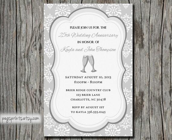 25th Wedding Invitations: 25th Wedding Anniversary Invitation Printable By PegsPrints