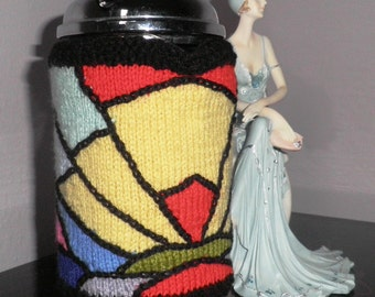 Hand knitted, art deco cafetiere hug