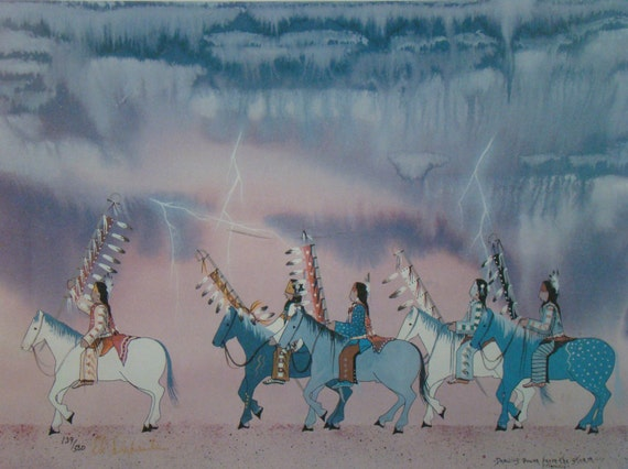 Ed Defender Lithograph - Native American art - signed and numbered