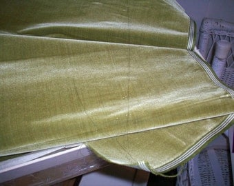 "Antique Victorian Silk Velvet Fabric Yardage Made in France 1890s "" Moss Dust """