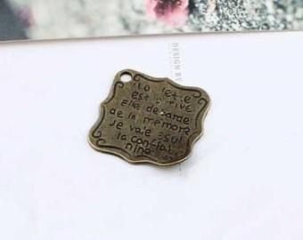 15 pcs  Antique bronze book page  Charm Pendants  book leaf  21mm