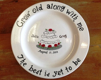 Custom Name Personalized Hand Painted Ceramic Wedding pottery Plate or Anniversary Plate