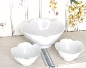 vintage white lotus bowls, set of 3 //  large, 2 small sauce, server, nesting bowls // mid century, modern, 70's