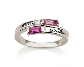 engraved promise ring couples birthstone ring by