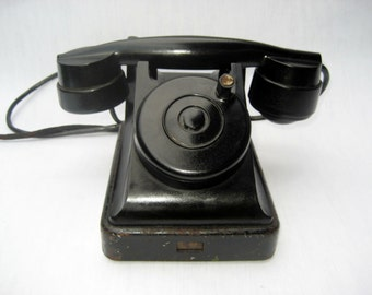 Vintage Rotary Telephone Black Bakelite phone Soviet Vintage USSR  Industrial Office supply movie requisite Steampunk