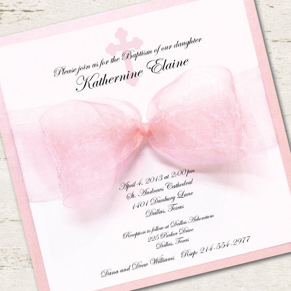 Girl Baptism Invitation Christening Pink Ribbon