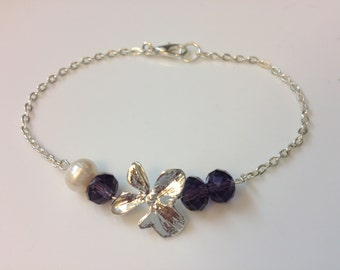 Sterling silver orchid flower Bracelet,Purple Amethyst stone bracelet,,bridal jewelry,flower girl gift,Bridsmaid gift,
