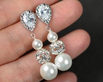 Long Bridal earrings,Bridesmaids earrings, Crystal Bridal Earrings, Wedding earrings, Swarovski, Wedding Jewelry, Long Crystal Stud Earrings