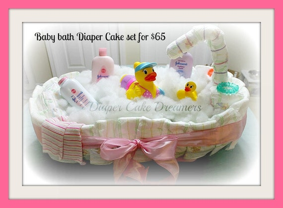 items similar to bathtub diaper cake bundles on etsy. Black Bedroom Furniture Sets. Home Design Ideas