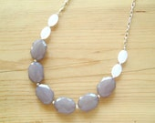 White and Gray long statement necklace,White and gray statement necklace