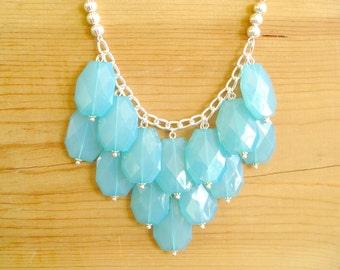 Turquoise Aqua bib necklace, Turquoise Statement necklace