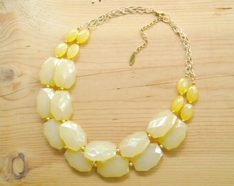 Yellow Statement Necklace, Big Yellow double strand necklace