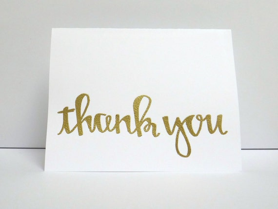 Thank you modern calligraphy heat embossed by modernmemo