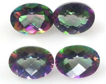 Mystic Topaz Oval 7x5mm Checkerboard Cut Top Excellent Rainbow Color (381)