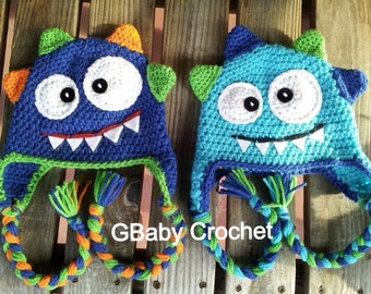 Crochet baby monster hat blue 0-5T