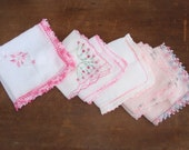 vintage handkerchief, pink and white hankies, set of 6, perfect for making bunting