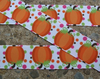 "3 yards Pumpkin Grosgrai Ribbon Fall Ribbon Printed Ribbon 7/8"" Halloween Hair Bow Ribbon Ribbon by the yard"