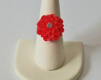 Small Red Mum Flower with Rhinestone Center Fashion Ring Adjustable Band