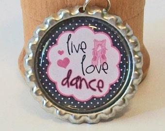 Pink and Black Ballet Live Love Dance Flattened Bottlecap Pendant Necklace