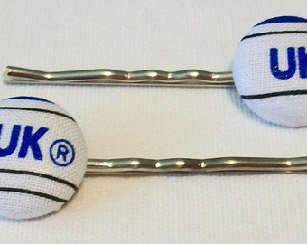 Fun Pair of Kentucky Wildcats Inspired Blue and White Button Metal Bobby Pins