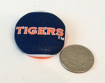 Blue and Orange Auburn Tigers Inspired Unusual Large Fabric Button Pin Pendant Combo