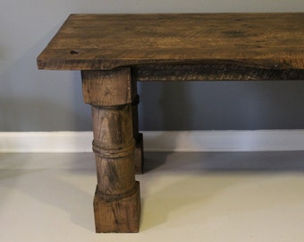 Dining Table, Salvaged Wood Table with Hand Turned Legs - Solid White Oak
