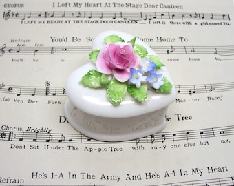 Royal Doulton Heart Shaped Rose Trinket Box Secrets Box Ring Box Gift Box Jewelry Box Pill Box