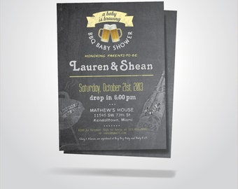 BEER BaByQ - BBQ Baby Shower Invitation / Baby Boy - Girl / DIY / Blue, Gray Chalkboard Printable Invitation