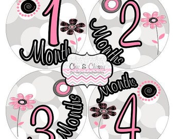 Whimsy Flowers- PRINTABLE Round Monthly Infant Stickers-.PDF Instant Download Digital file only-Item No. MS013