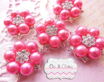 Pink Pearl and Rhinestone Embellishments -ITEM No. M0470P (26mm) metal setting for DIY projects, set of 5 rhinestones