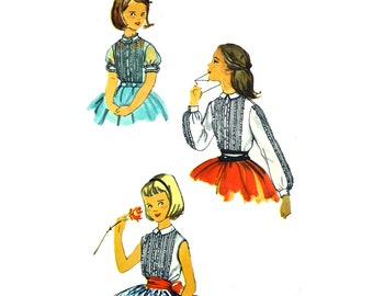 Vintage 50s Little Girls Blouse Pattern / Ruffled Pintucked Puff Sleeve Blouse Pattern / Childs 1950s Pattern Simplicity 2166 Girls Size 10