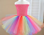 Custom Made Rainbow Basic Tutu Dress - All Child Sizes - Pick your colors