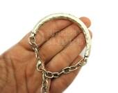 Silver Bar Bracelet, Hammered Textured Antique Silver Plated Curved Bar Bracelet