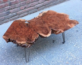 SOLD - Exceptional Large Walnut Burl Live Edge Coffee Table