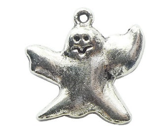 10 pcs - Scary Silver Ghost Charm 23x24mm - Ships from Texas by TIJC - SP0748