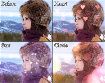 51 Photoshop Overlays - Heart, Star, Circle - Bokeh Blur