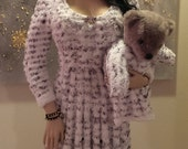 White Fluffy Fleece Snow Angel Long Sleeve Cable-Knit Dress (w/ out matching baby dress)