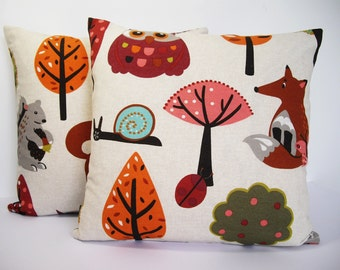 Kids woodland animals fabric cushion cover 16x16