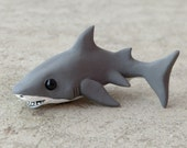Great White Shark - Handmade miniature polymer clay animal figure