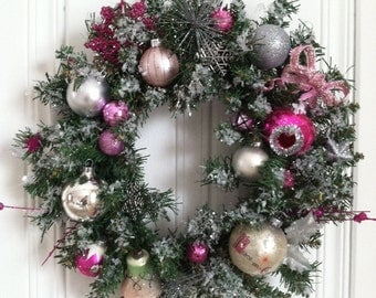 Vintage inspired holiday wreath.