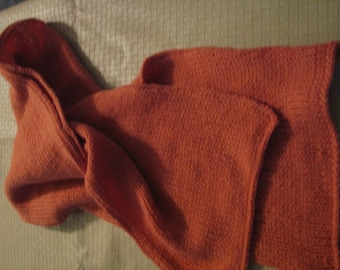 S-075 Knitted Orange Scarf