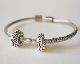 Elegantly Simple European Style Stainless Steel Cable Cuff Starter Bracelet with Stopper Beads