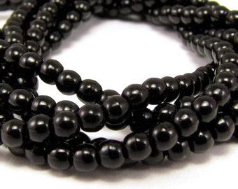 Jet Black 3mm  Round Czech Glass  Beads 100pc #911