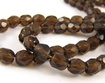 Deep Smoke Topaz  6mm Facet Round Czech Glass Fire Polished Beads #1253