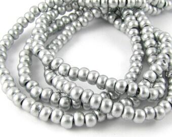 Matte Metallic Bright Silver Size 6/0 Czech Glass Seed Beads #1368